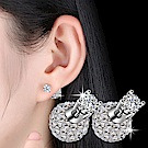 梨花HaNA 韓國925銀針唯美水鑽球球雙面鑽石耳環