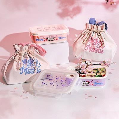 [共2盒1袋] 迪士尼Disney 櫻紛米奇陶瓷三格密封便當盒850ml