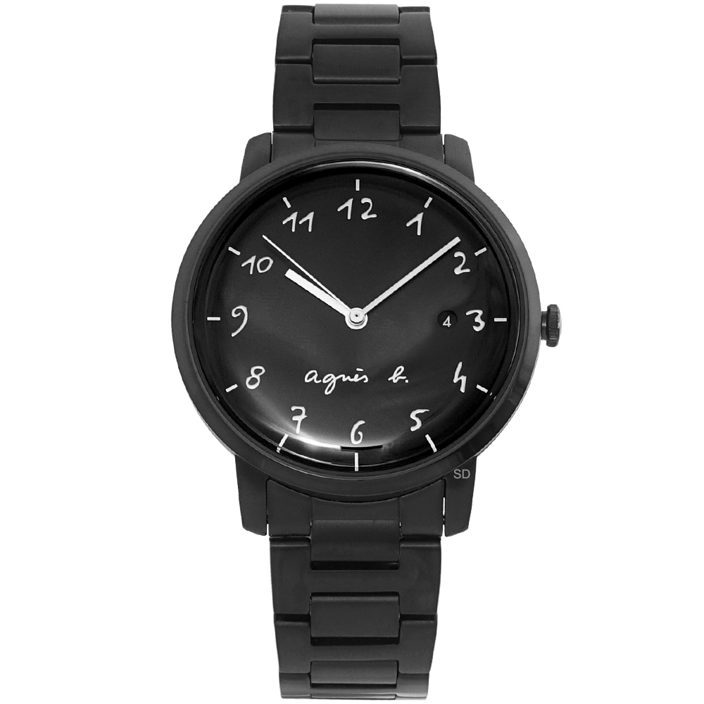 agnes b.簡約手寫時標時尚手錶 BG8008X1-黑/37mm