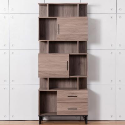 D&T德泰傢俱 BROOK淺胡桃木2.7尺展示櫃-80x41.5x196cm