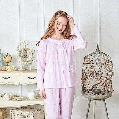睡衣 條紋鯨魚 精梳棉薄款長袖兩件式睡衣(R87202兩色可選) 蕾妮塔塔