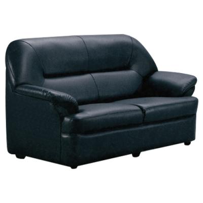 文創集 麥西隆時尚黑透氣皮革二人座沙發椅-80x153x87cm免組