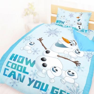 享夢城堡 單人床包雙人薄被套三件組-冰雪奇緣FROZEN 雪寶與小雪人-藍