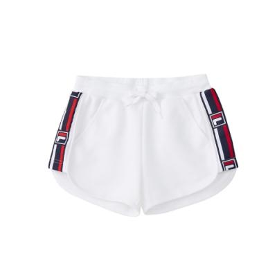 FILA KIDS #架勢新潮 女童短褲-白色 5SHV-4415-WT