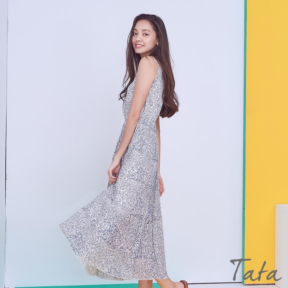 碎花壓褶雪紡背心洋裝 共二色 TATA-F