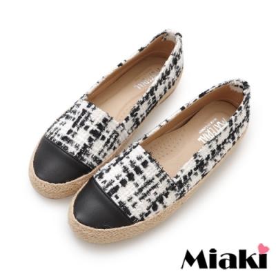 Miaki-樂福鞋時尚麻編平底休閒鞋-白