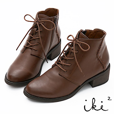 iki2 綁帶編織造型粗跟短靴-咖