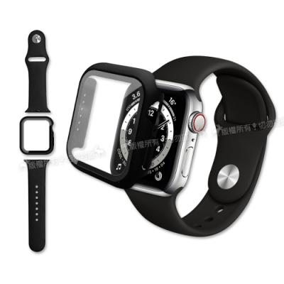 全包覆 Apple Watch Series SE/6/5/4 (44mm) 9H鋼化玻璃貼+錶殼+環保矽膠錶帶(黑)