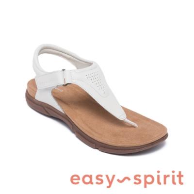 Easy Spirit-seMELONY 透氣牛皮氣質夾腳拖鞋-白色