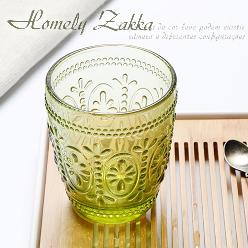 Homely Zakka 午茶食光歐式古典浮雕玻璃杯(繽紛花漾)300ml-茶綠
