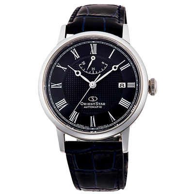 ORIENT東方之星STAR真皮機械錶手錶-深藍X銀/39mm