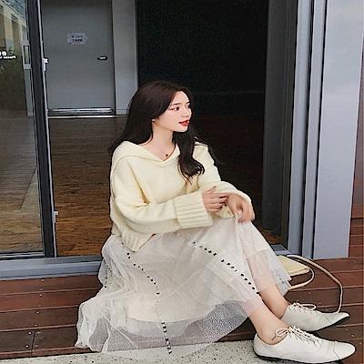 DABI 韓系針織寬鬆氣質洋氣毛衣裙套裝長袖裙裝