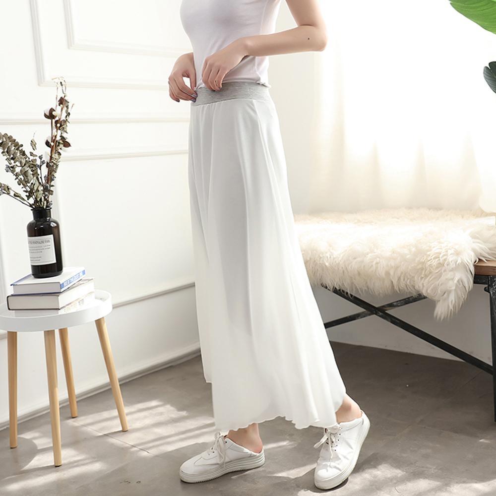 【brs】韓版假兩件莫代爾珍珠雪紡輕薄長褲裙