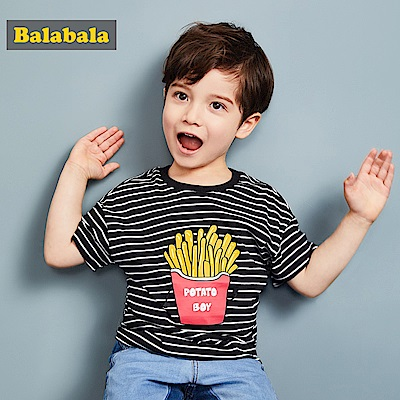 Balabala巴拉巴拉-條紋變化薯條印花造型T恤-男(2色)