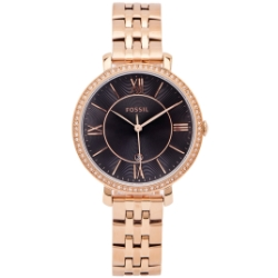 FOSSIL 鑽鑲優雅風不鏽鋼錶帶手錶(ES4723)-黑色面X玫瑰金/36mm