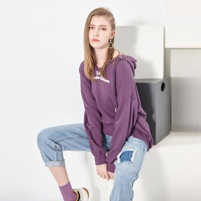 Lee DENIM UNION 長袖V領連帽厚TEE 女款 紫色