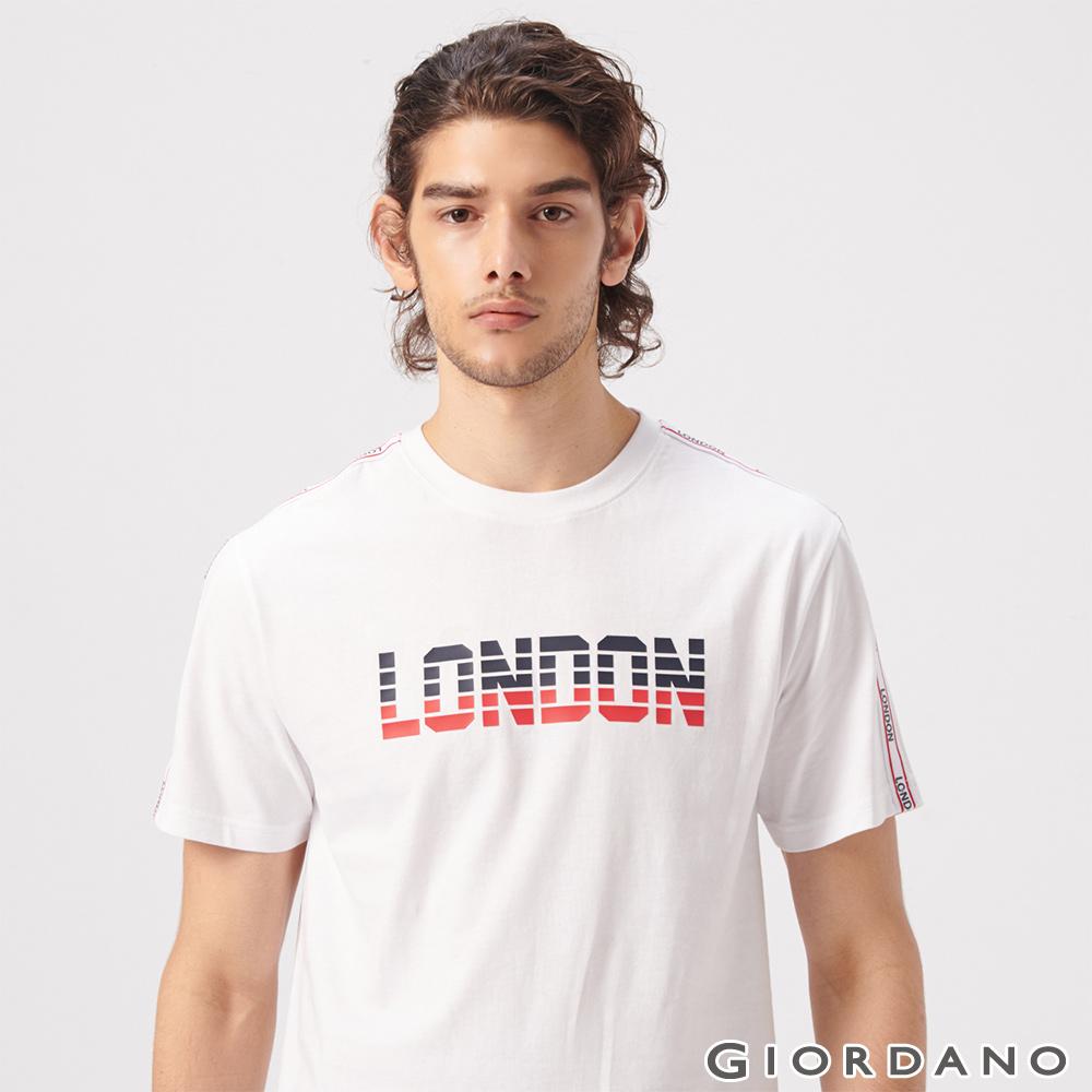 GIORDANO 男裝UNION JACK系列短袖T恤-13 標誌白