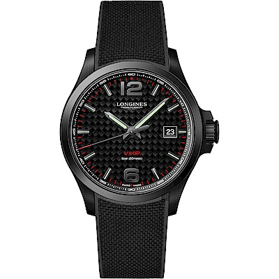 LONGINES浪琴 征服者系列V.H.P.萬年曆碳纖維手錶-黑/43mm