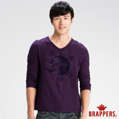 BRAPPERS 男款 男用植絨貼布繡上衣-紫