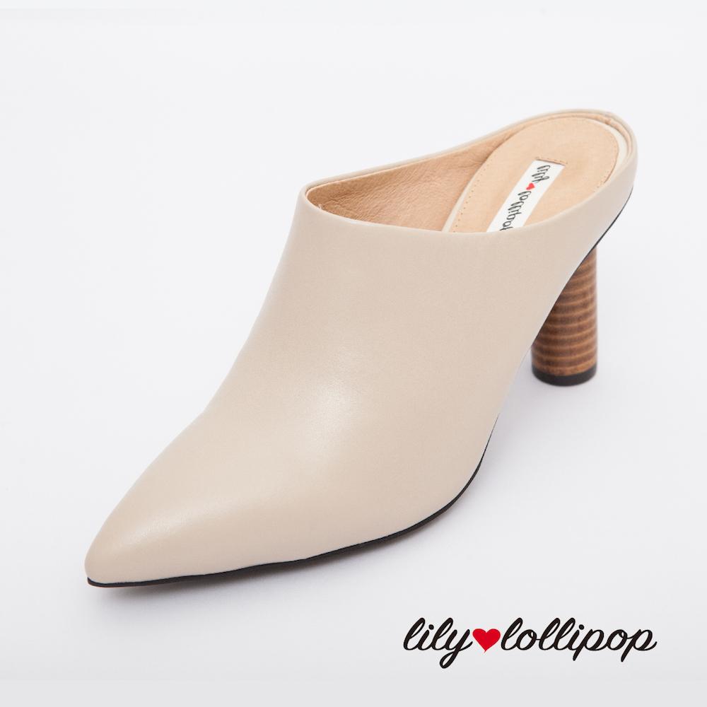 Lilylollipop Maisie真皮穆勒木頭高跟鞋--卡其色