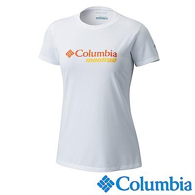 Columbia 哥倫比亞 女款-野跑防曬30快排短袖上衣-白色UAR21300WT