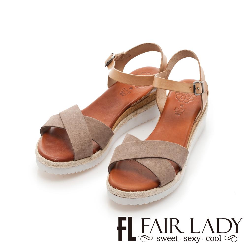 Fair Lady PORRONET 交叉寬帶草編厚底楔型涼鞋 綠
