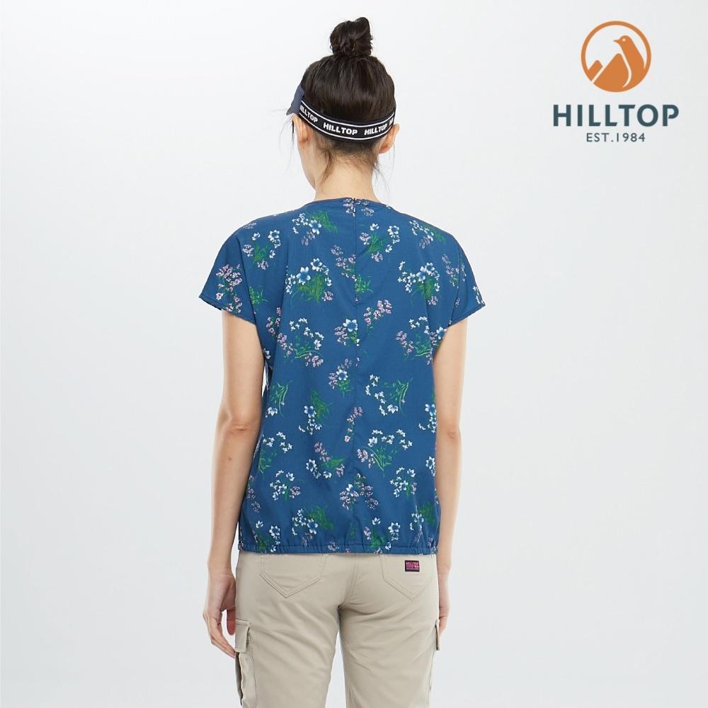 【hilltop山頂鳥】女款吸濕快乾彈性抗UV短袖襯衫PS06XF62ECEZ深沉藍印花