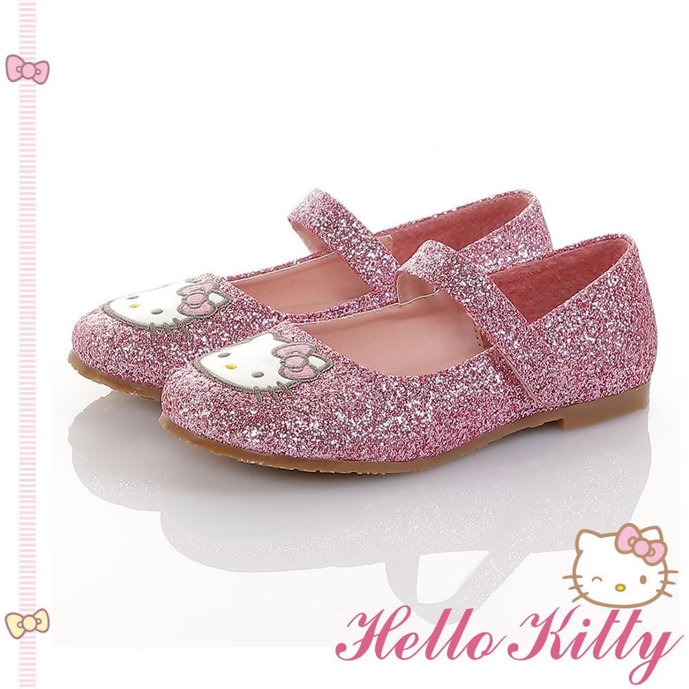 HelloKitty童鞋 傳統手工鞋氣質金蔥真皮娃娃包鞋-桃