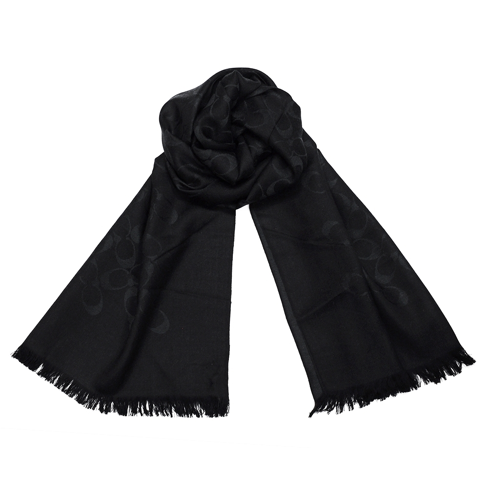 COACH 經典滿版LOGO羊毛混絲針織披肩圍巾 黑色