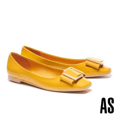 低跟鞋 AS 時尚金屬帶釦全真皮方頭低跟鞋-黃