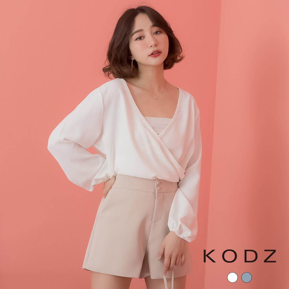 東京著衣-KODZ  慵懶知性V領交錯設計公主袖雪紡上衣-S.M.L(共兩色)