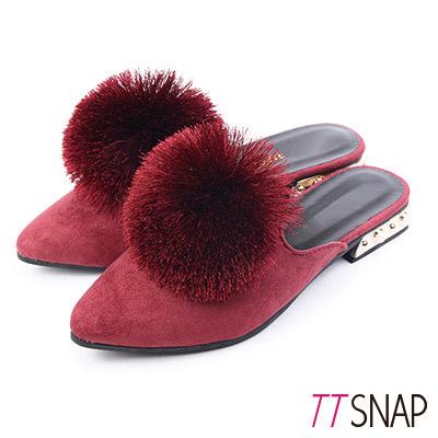 TTSNAP尖頭鞋-細緻絨面溫暖毛球平底穆勒鞋 紅