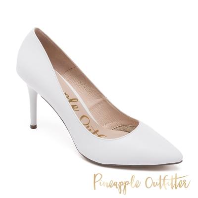 Pineapple Outfitter-SCARLET BACK 真皮素面尖頭高跟鞋-白色
