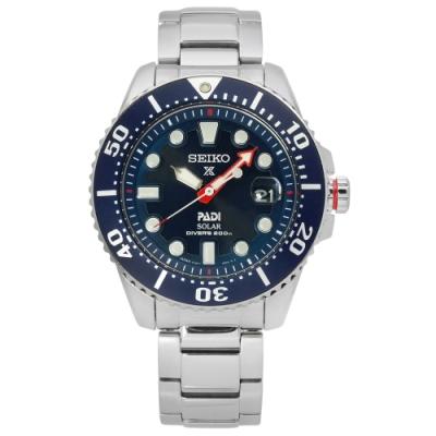 SEIKO 精工 PROSPEX PADI 聯名款 太陽能 潛水不鏽鋼手錶-藍色/43mm