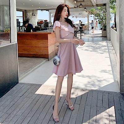DABI 韓國風名媛收腰荷葉V領素色短版短袖洋裝