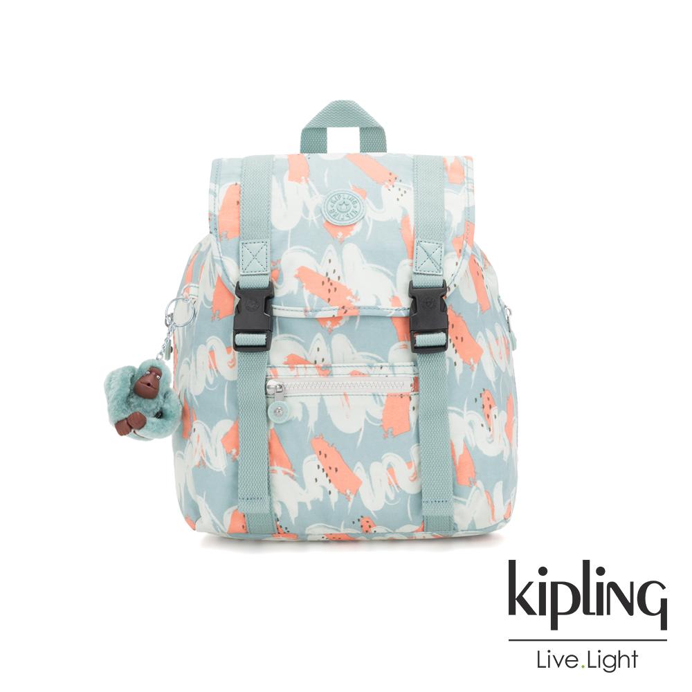 Kipling 湖水綠印象派塗鴉雙扣掀蓋後背包-AICIL