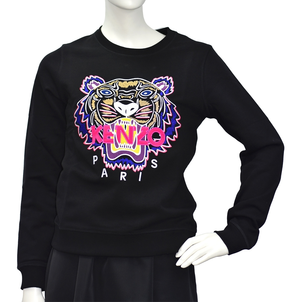 KENZO 經典老虎刺繡標誌桃紅色LOGO厚版純棉長袖圓領衫(黑)