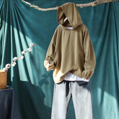 單色全棉鬆緊袖口連帽長袖T恤寬鬆蝙蝠長袖上衣-設計所在