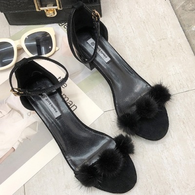 KEITH-WILL時尚鞋館 韓國設計三球時尚粗跟涼鞋 黑