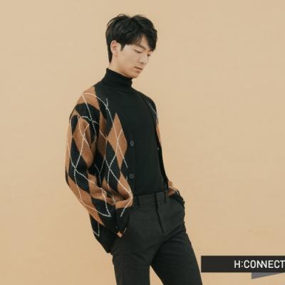 H:CONNECT 韓國品牌 男裝-格紋造型針織外套-棕