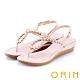 ORIN 花朵造型鑽飾牛皮夾腳涼鞋 粉紅 product thumbnail 1