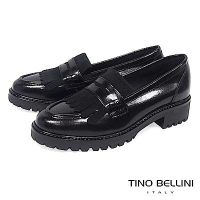 Tino Bellini 義大利進口復古學院風單層流蘇樂福鞋 _ 黑