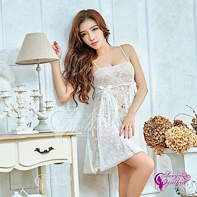 Sexy Cynthia性感浪漫白蕾絲平口蕾絲二件式睡衣-白F