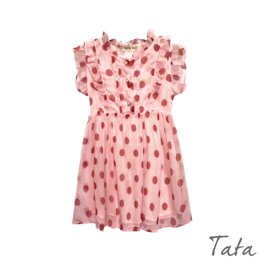 童裝 荷葉邊點點印花珍珠鈕扣洋裝 TATA KIDS