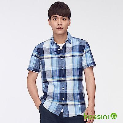 bossini男裝-棉麻格紋短袖襯衫藍