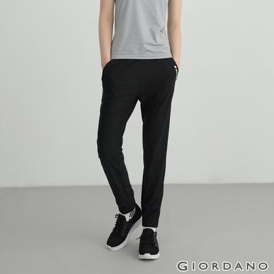 GIORDANO 女裝輕薄涼感內抽繩束口褲 - 09 標誌黑