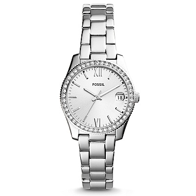 FOSSIL 永恆鑲鑽錶框不鏽鋼手錶(ES4317)-32mm
