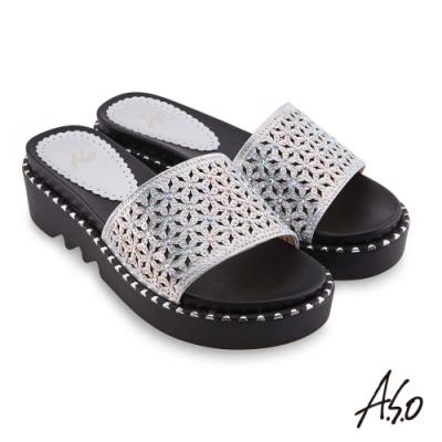 A.S.O時尚流行 夏季輕量幻彩閃色布燙鑽時髦拖鞋-銀