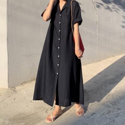 2F韓衣-簡約襯衫領排扣素色洋裝-3色(F)