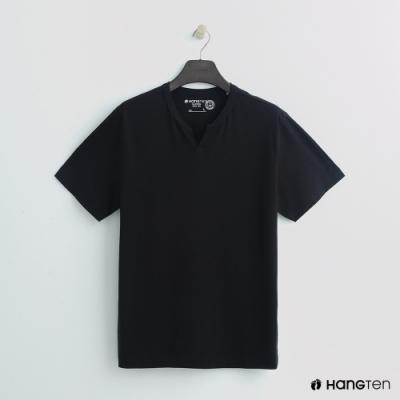 Hang Ten - 男裝 - 有機棉-簡約小開襟T桖 - 黑